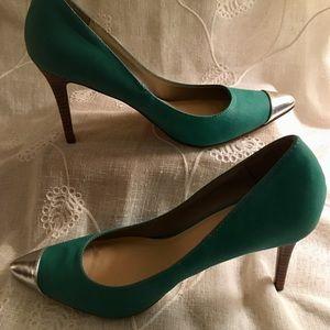 Michael Antonio teal and silver heels 8.5